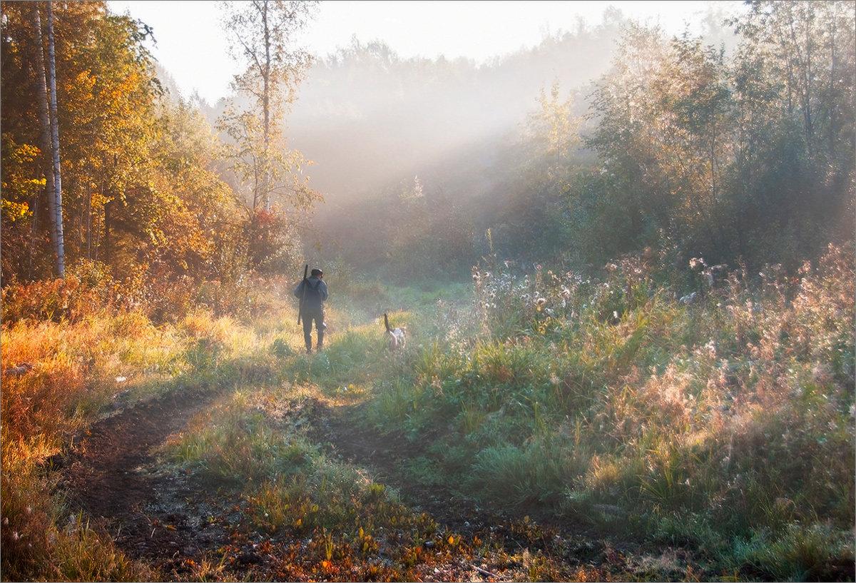 туман, пейзаж, оÑотник