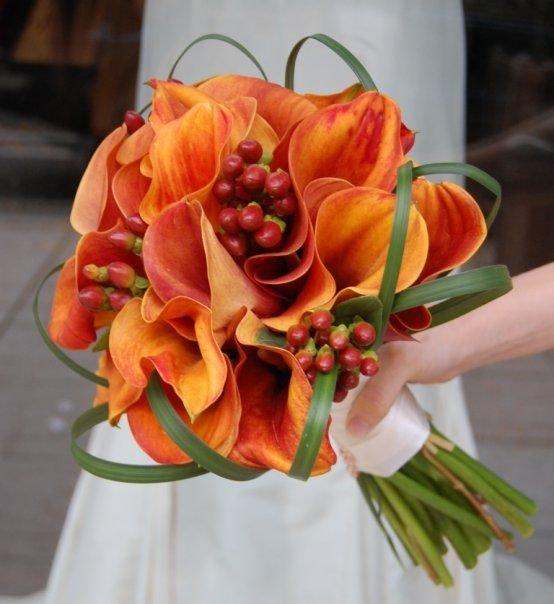 Свадебный букет из оранжевых каллы цена киев