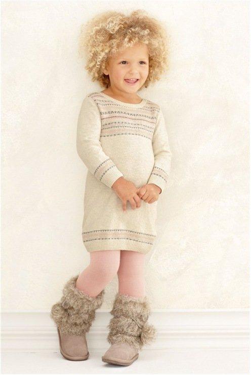 модное теплое платье для девочек