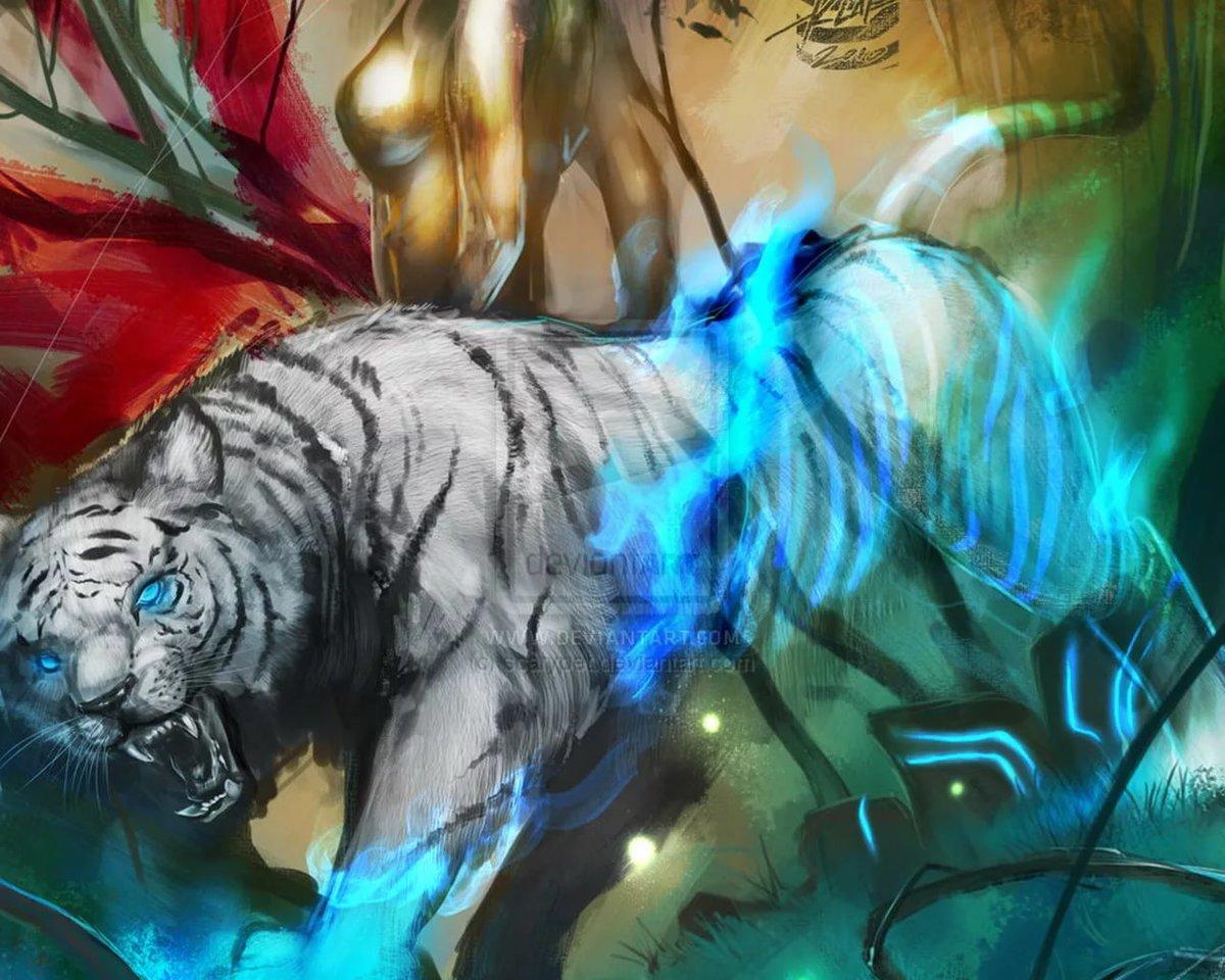 Картинки волков и тигров фэнтези