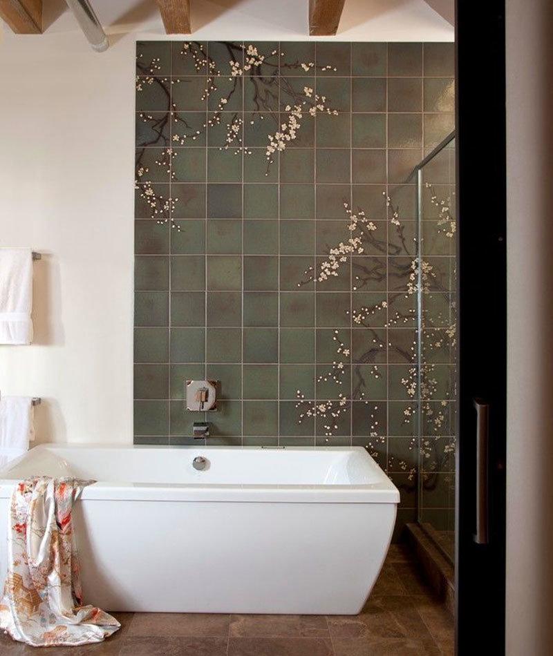 сакура цветение принт в ванную