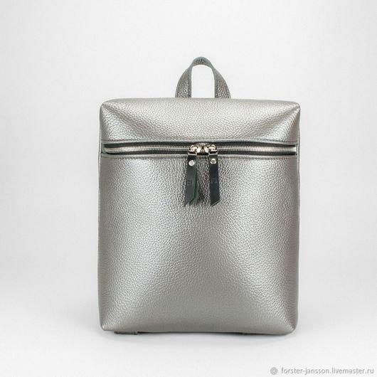 Купить или заказать Кожаный рюкзак на молнии Серебряный перламутр в интернет  магазине на Ярмарке Мастеров. 583d978e4ed