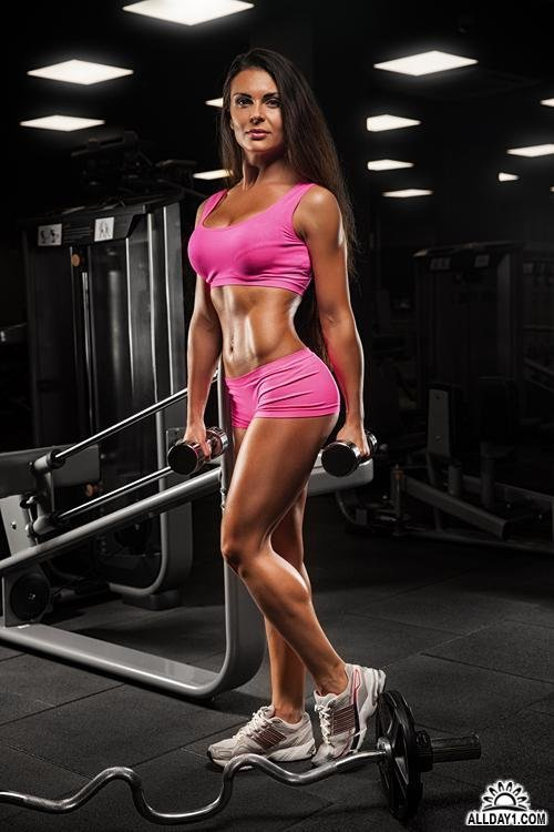 Attractive fitness women, trained female body