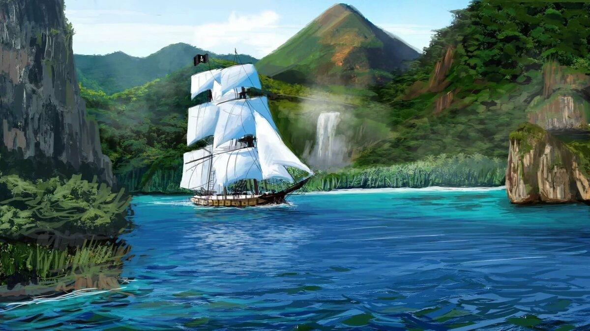 картинка анимация бухта с морским берегом сразу