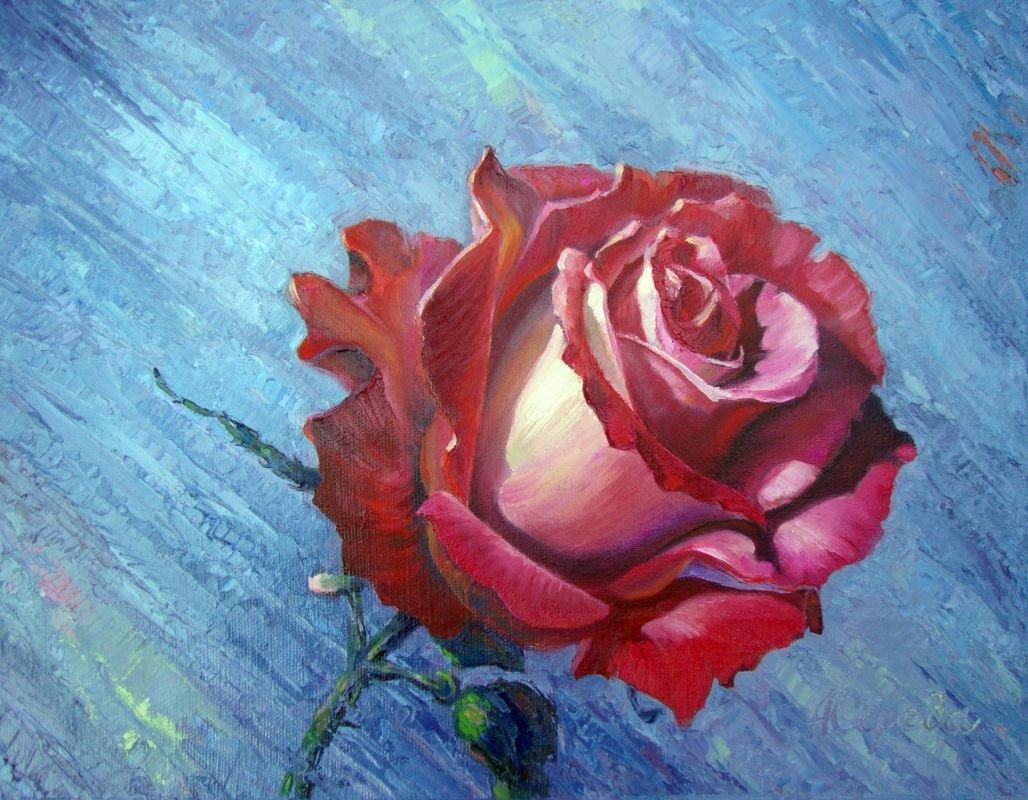 рисунок розы гуашью картинки