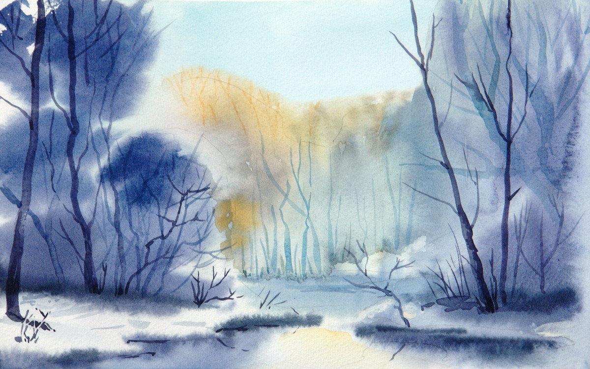 природа акварелью картинки зима коллаже семейства обезьян