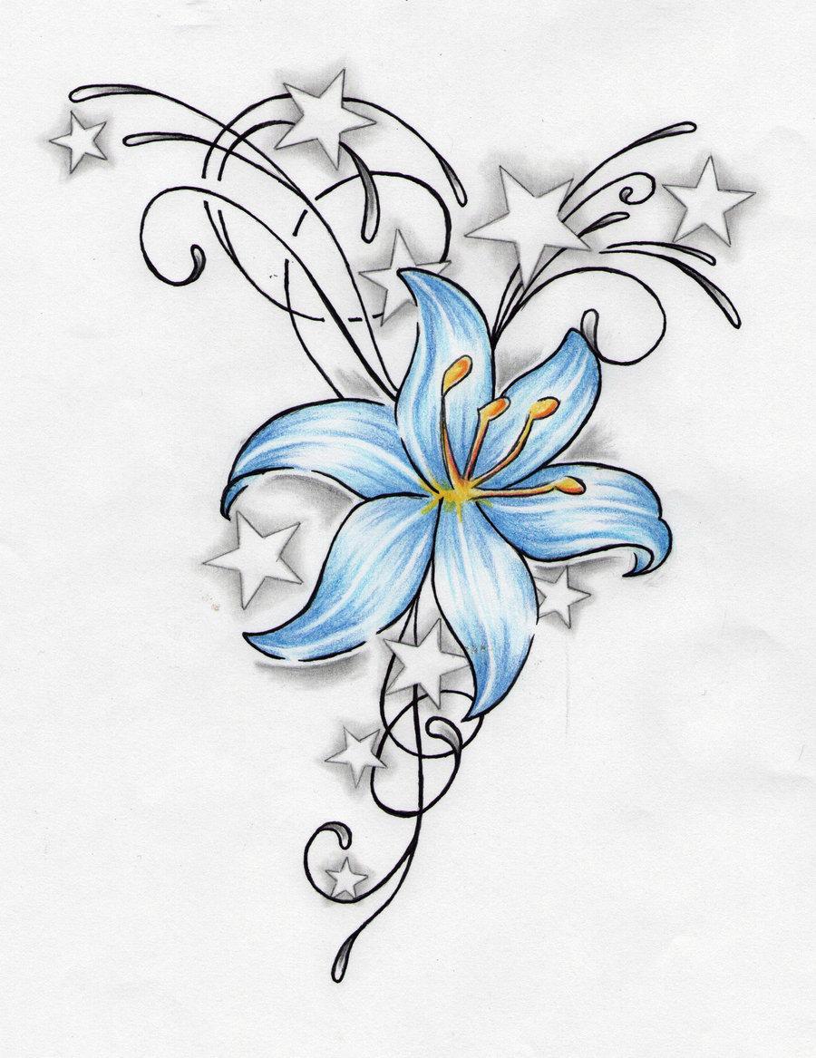 Stars and blue lily flower tattoo design card from user stars and blue lily flower tattoo design izmirmasajfo