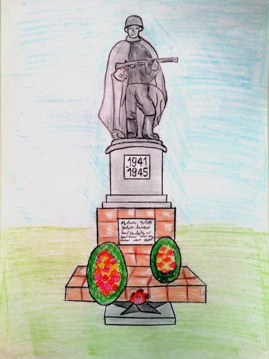 цветом рисунок памятника карандашом петь