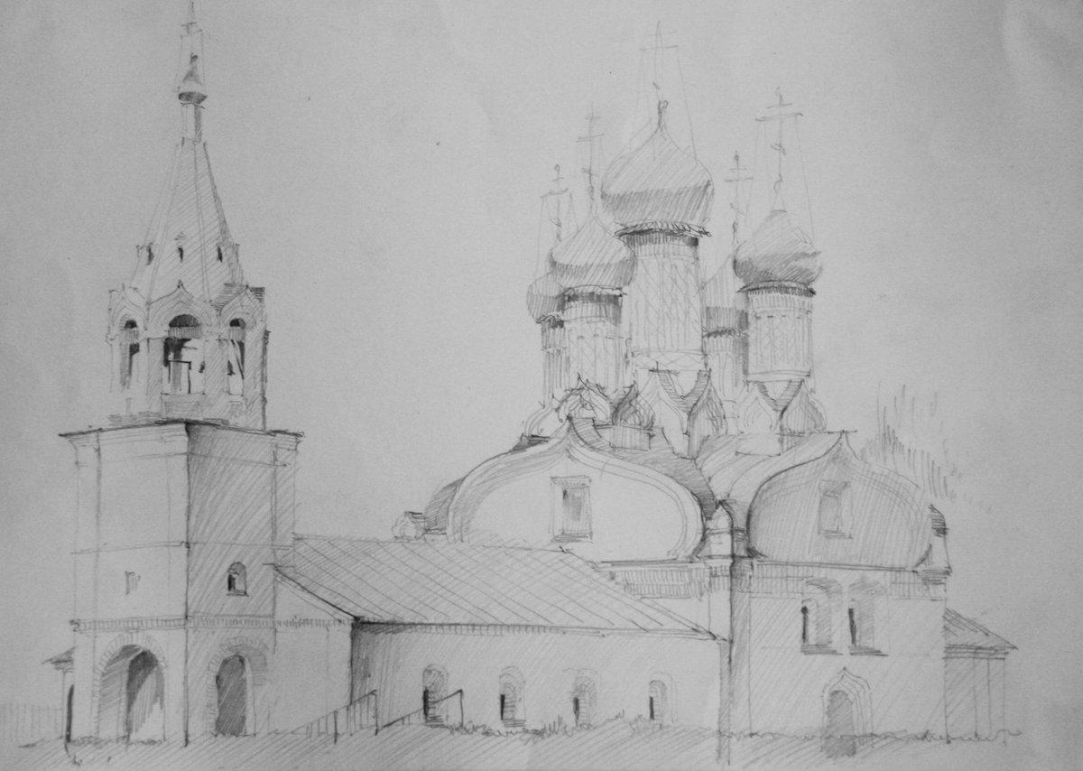 Картинки карандашом храмов