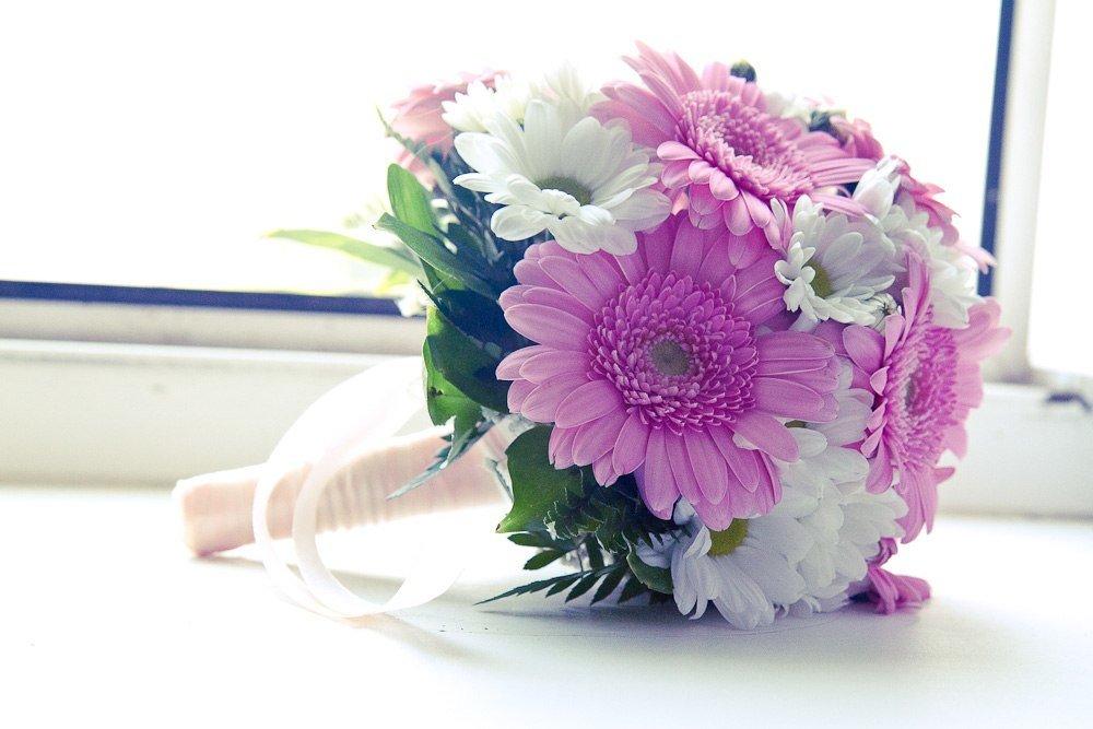 Цветы, букет невесты только из герберов