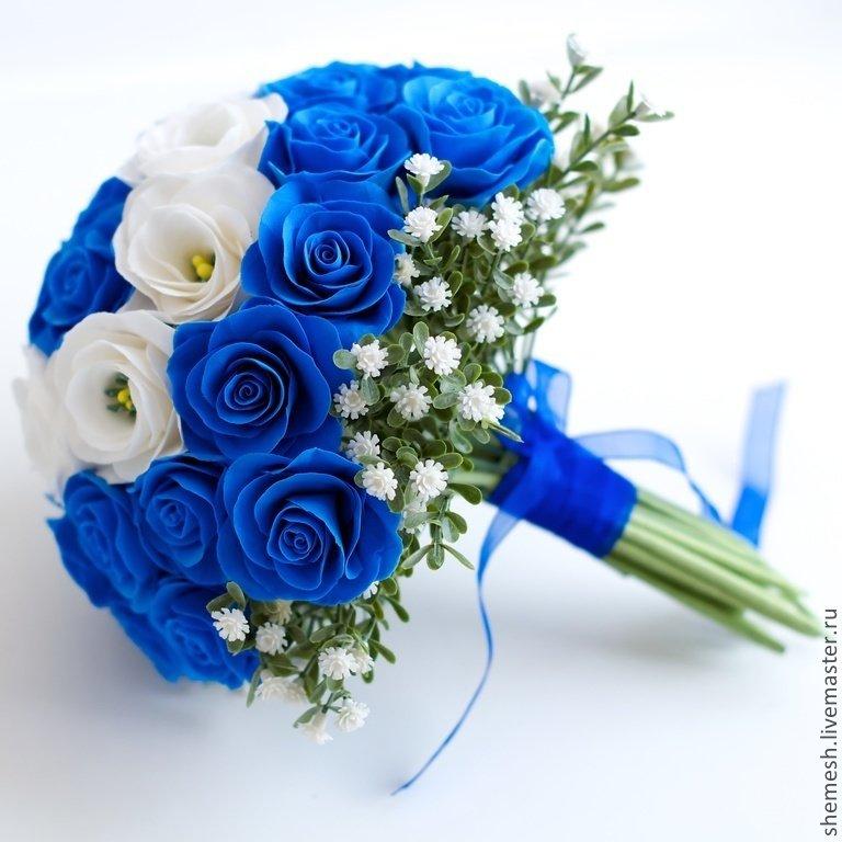 Цветов, свадебный букет синий белый