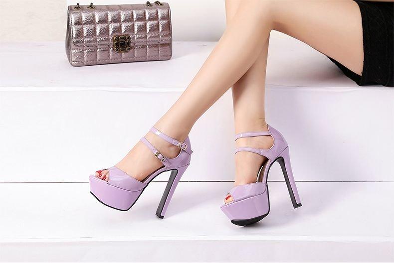 757698bd8e5e Фиолетовая женская обувь большого размера пурпурные босоножки для девушек