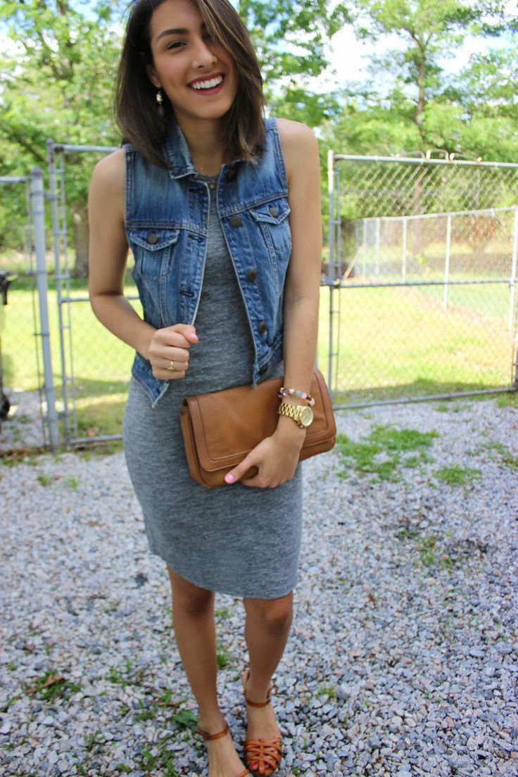 Outfits With Jean Vests Dress With Jean Jacket And Converse Dress