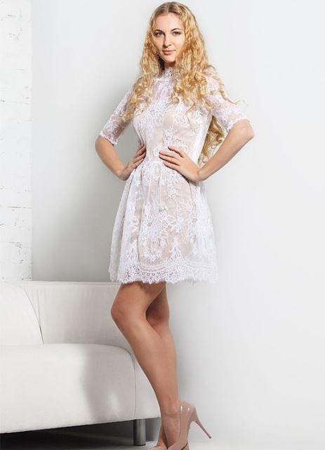 546573c16ad Свадебное Платье Кружевное Короткое Фото