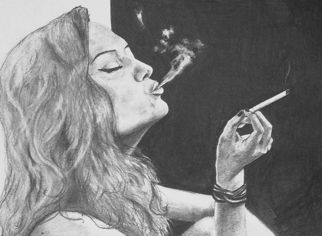 Рисунок сигареты с дымом карандашом