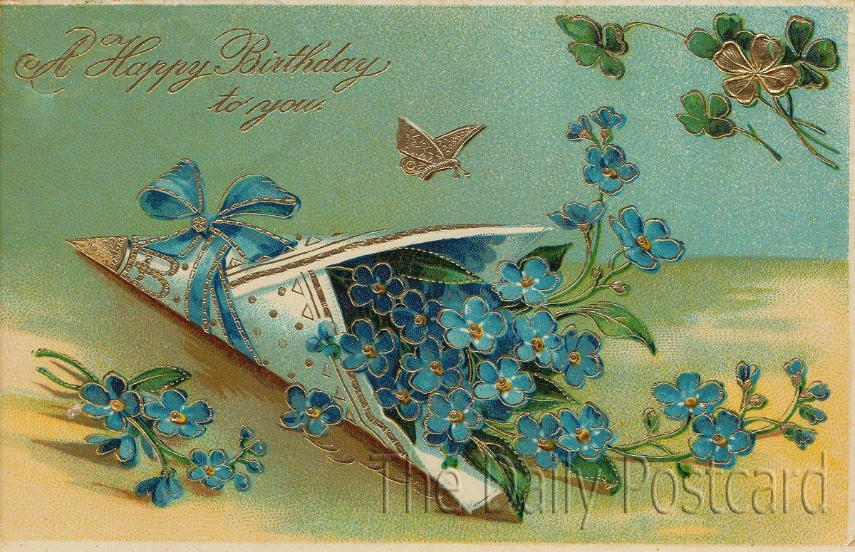Для тебя, старинные открытки на английском с днем рождения