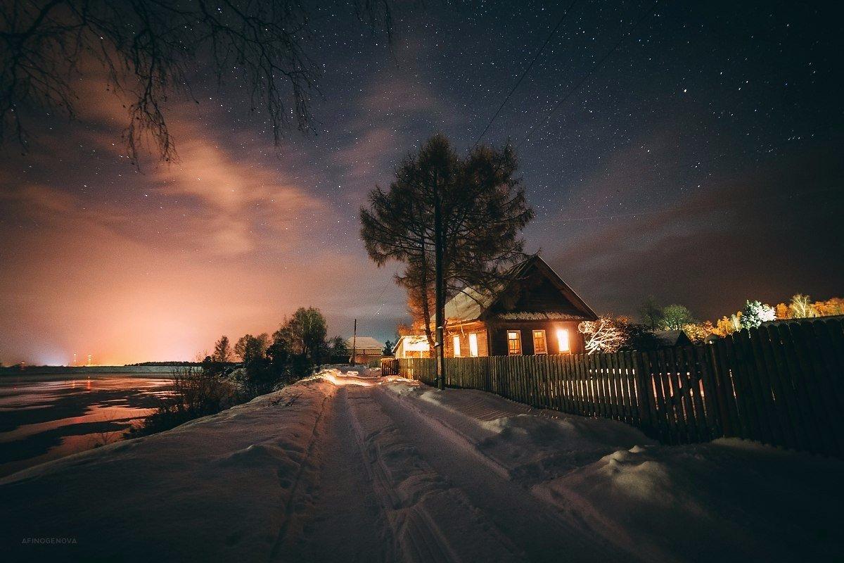 картинки деревенского дома вечером чтобы