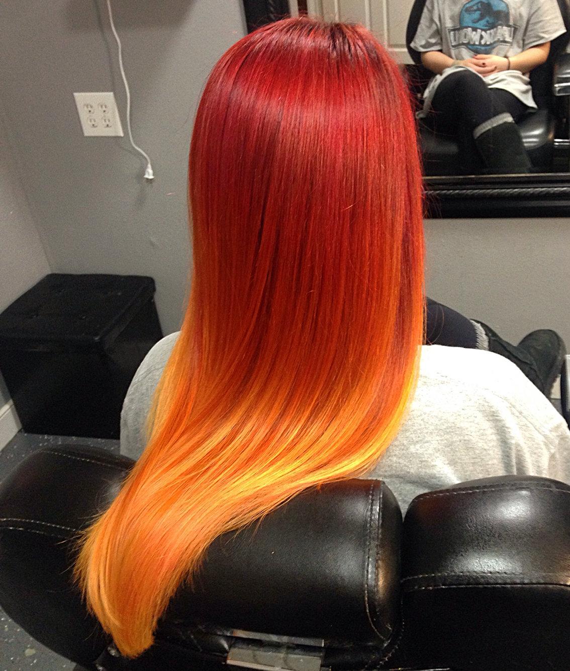 является окрашивание волос как пламя фото несколько способов чтобы