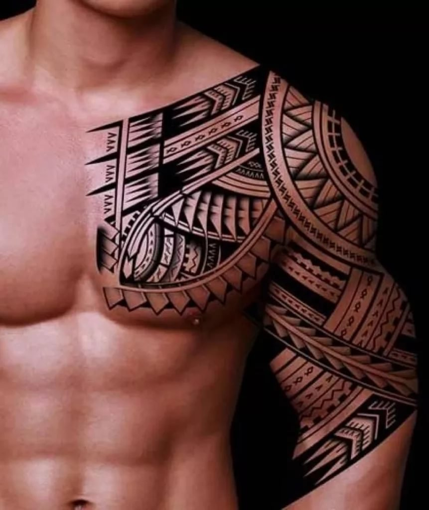 Chest Shoulder Tribal Tattoos Shoulder Chest Tribal Tattoos Card