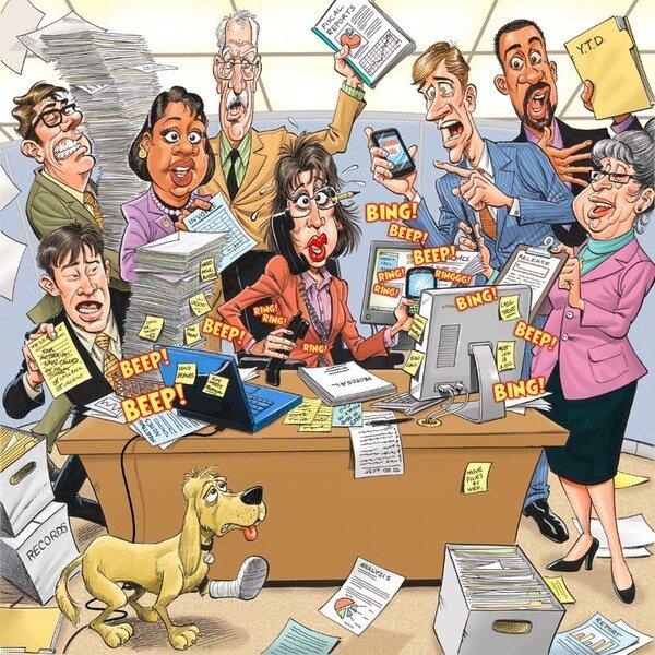 включение открытки с днем рождения для офисных работников смайликами