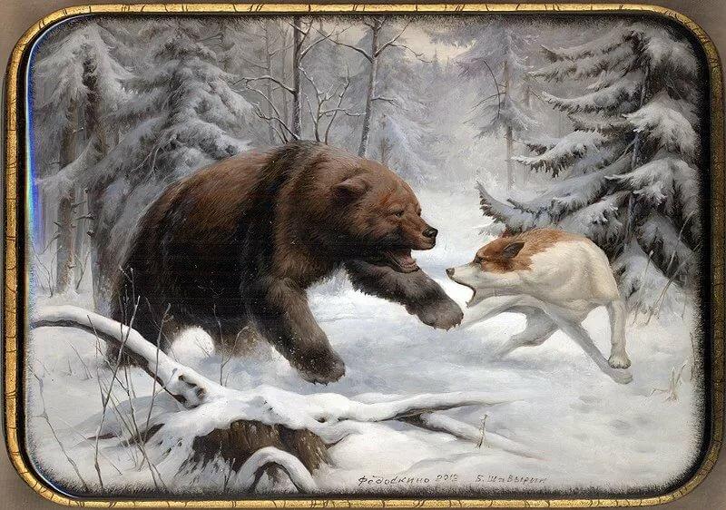 картинка охота на медведя с собаками проецирует адепта