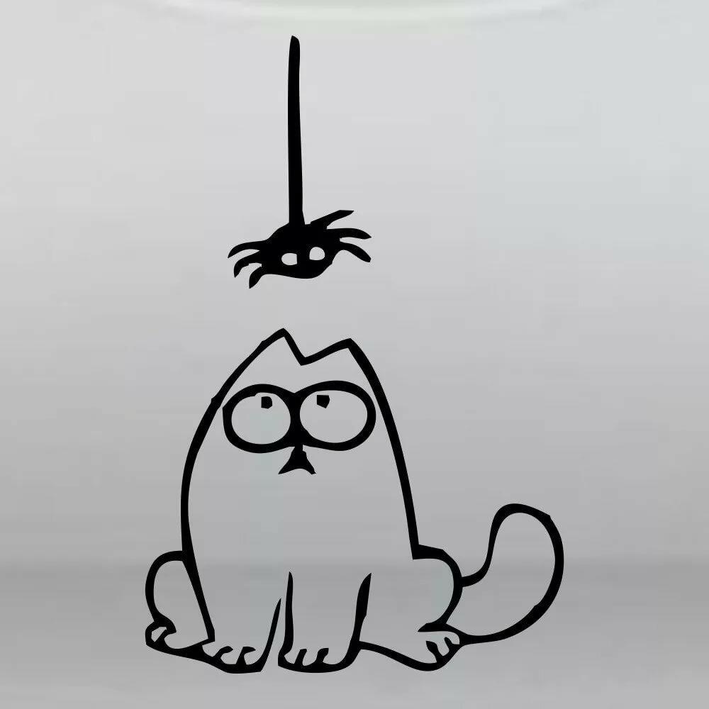 Нарисовать прикольного кота на обоях