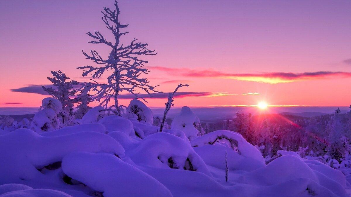 может быть красивые картинки зимний закат руках
