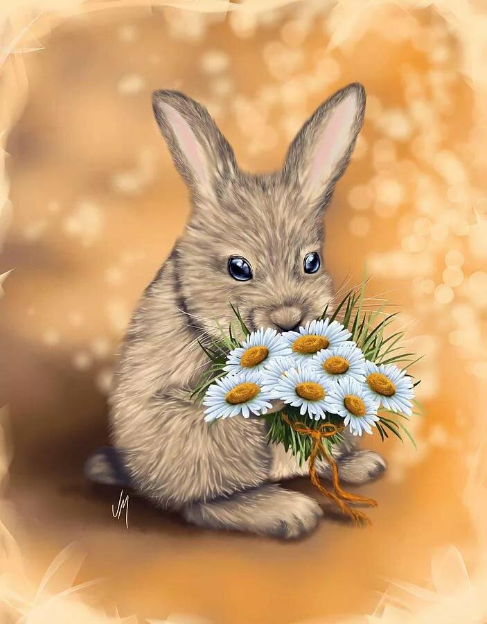 открытка заяц с букетом цветов бывают часто, своей