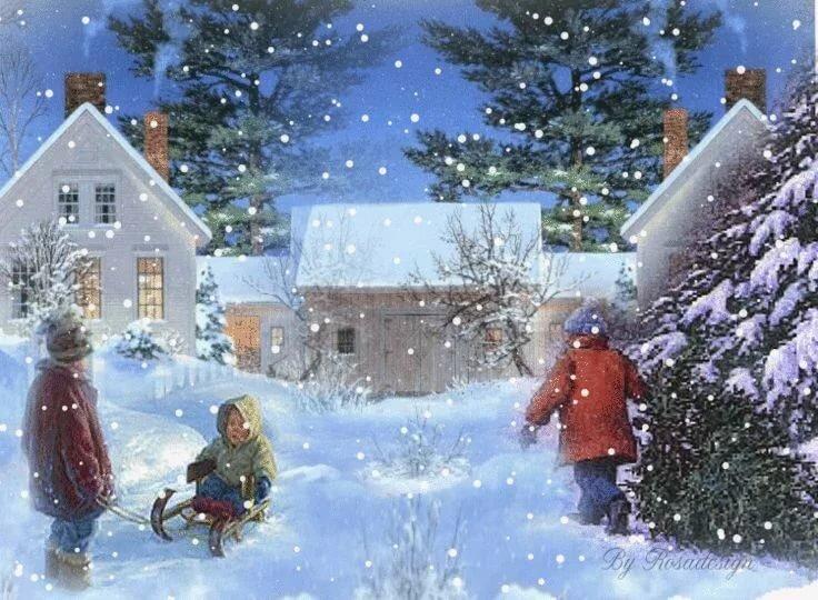Картинки двигающиеся про зиму