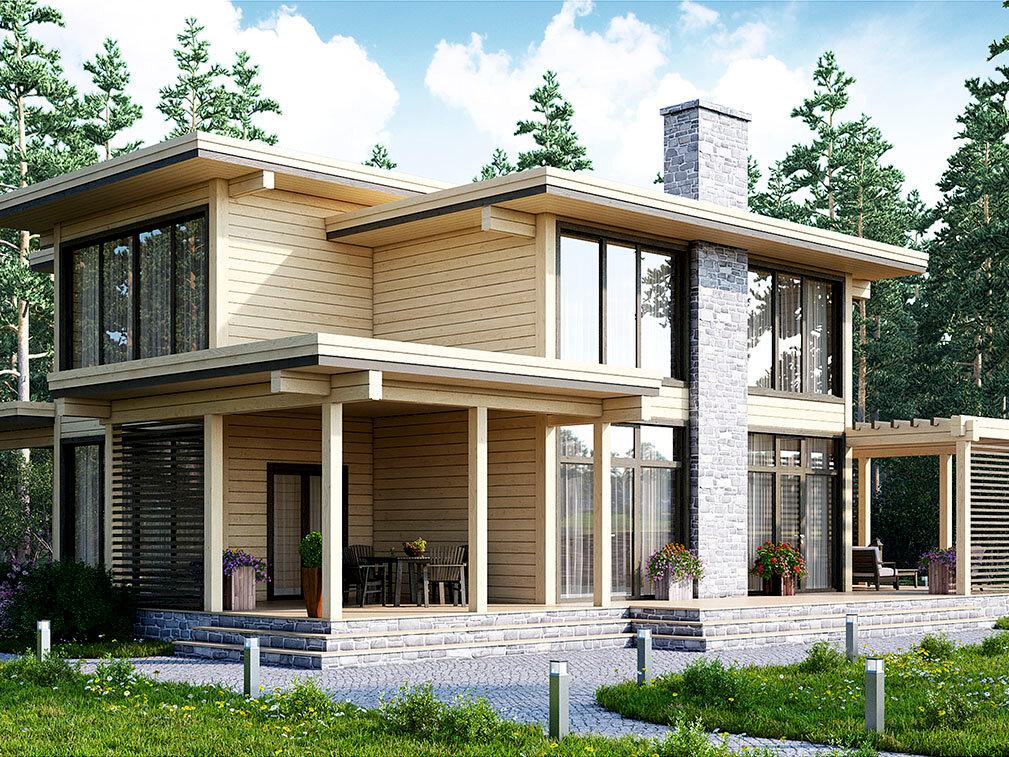 современные дома низкие из клееного бруса фото советуют