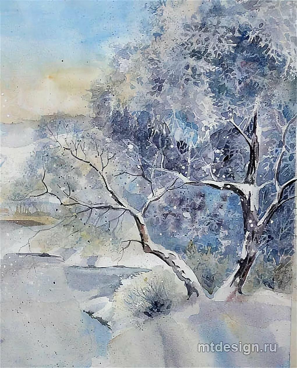 званий природа акварелью картинки зима том далеком ноябре