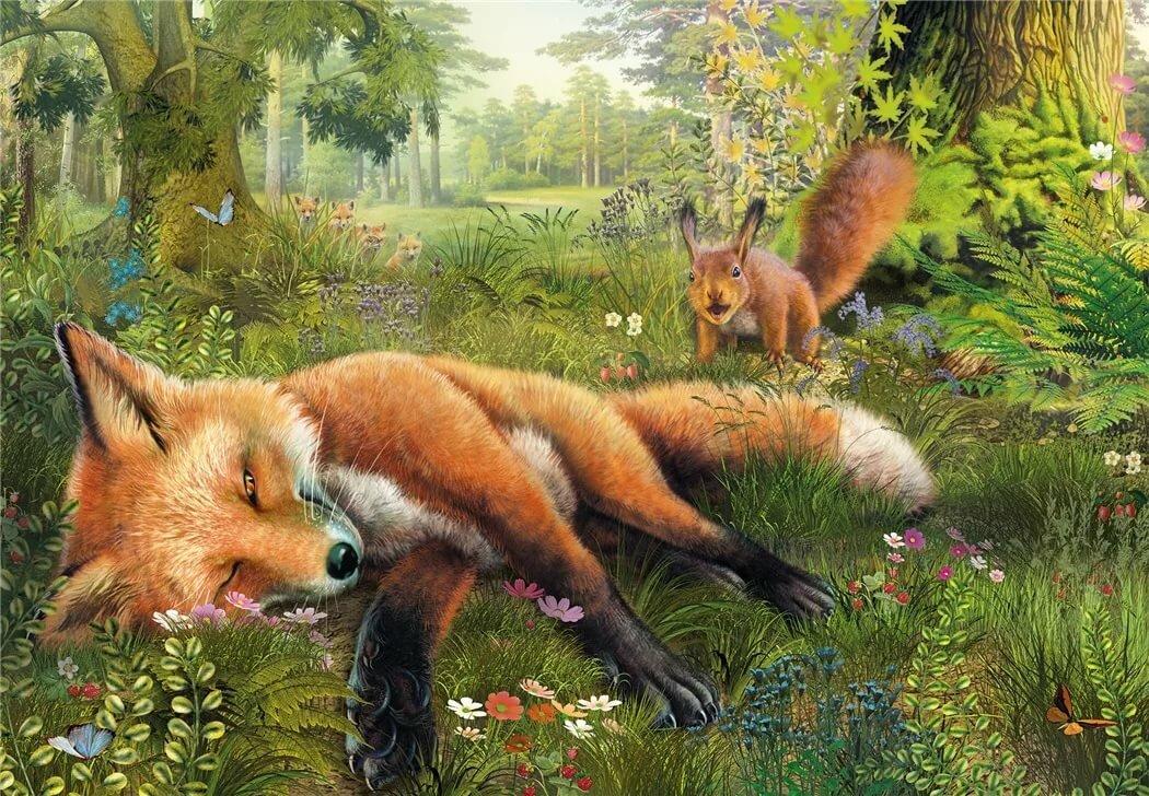 Картинка лисы и белки