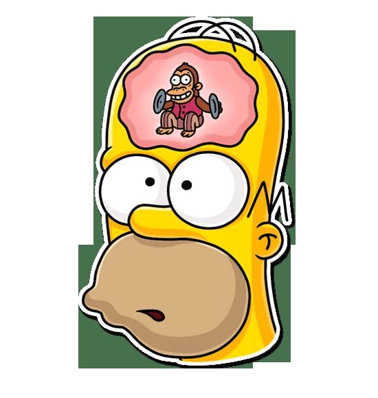 Картинка гомер с обезьяной в голове