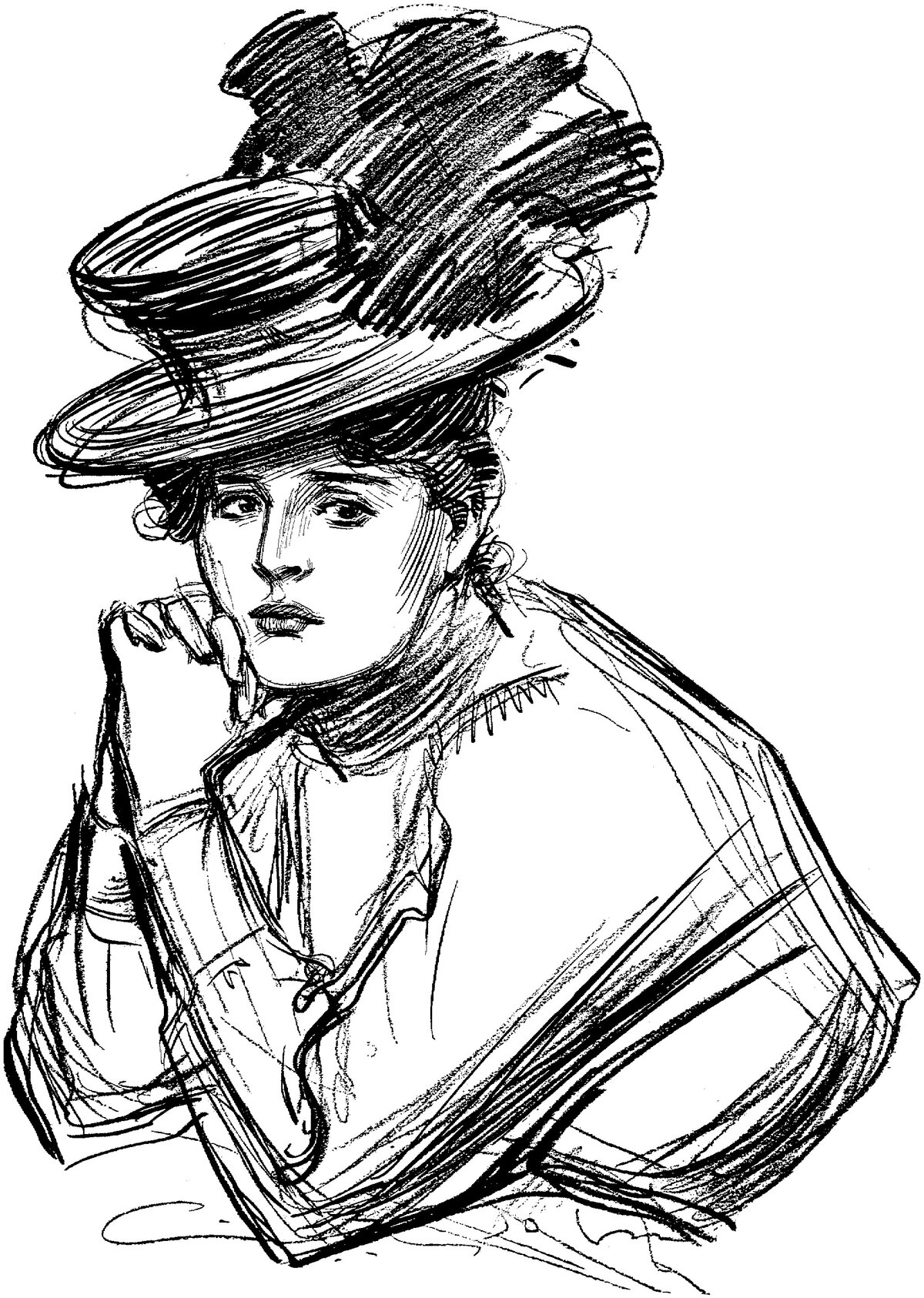 человек в шляпе картинки карандашом нее