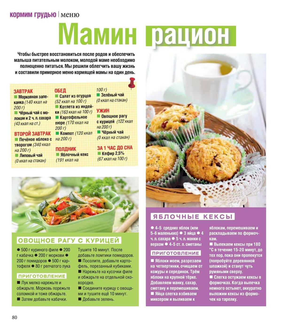 Диета для кормящих меню