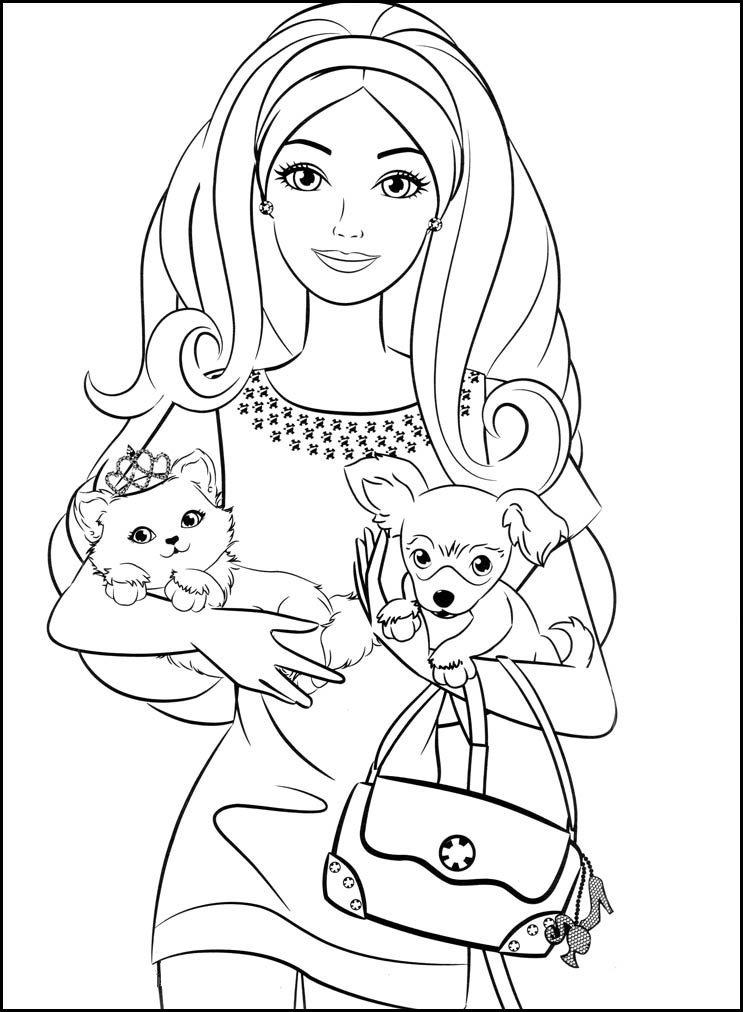 «Барби с котенком и щенком, красивая картинка для ...
