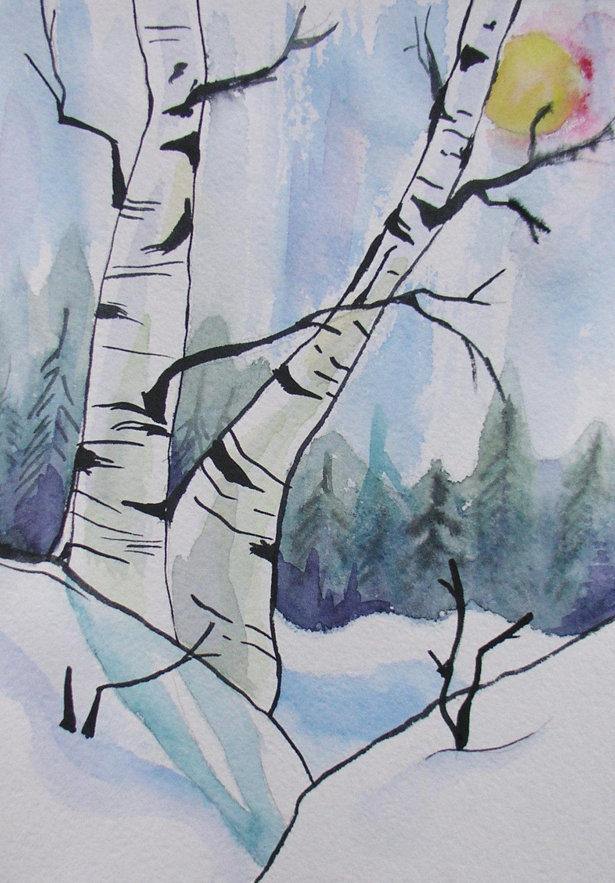 Картинки зимнего пейзажа для срисовки, марта распечатать