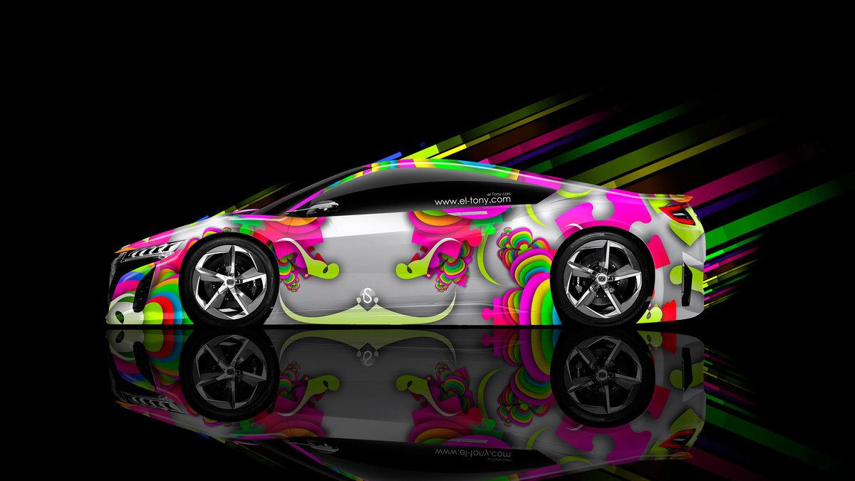 Honda Nsx Side Super Abstract Aerography Art Car 2018 Multicolors 4k