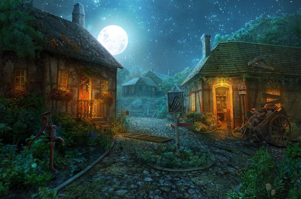 Мультяшные картинки ночь в деревне пропитке выпечка