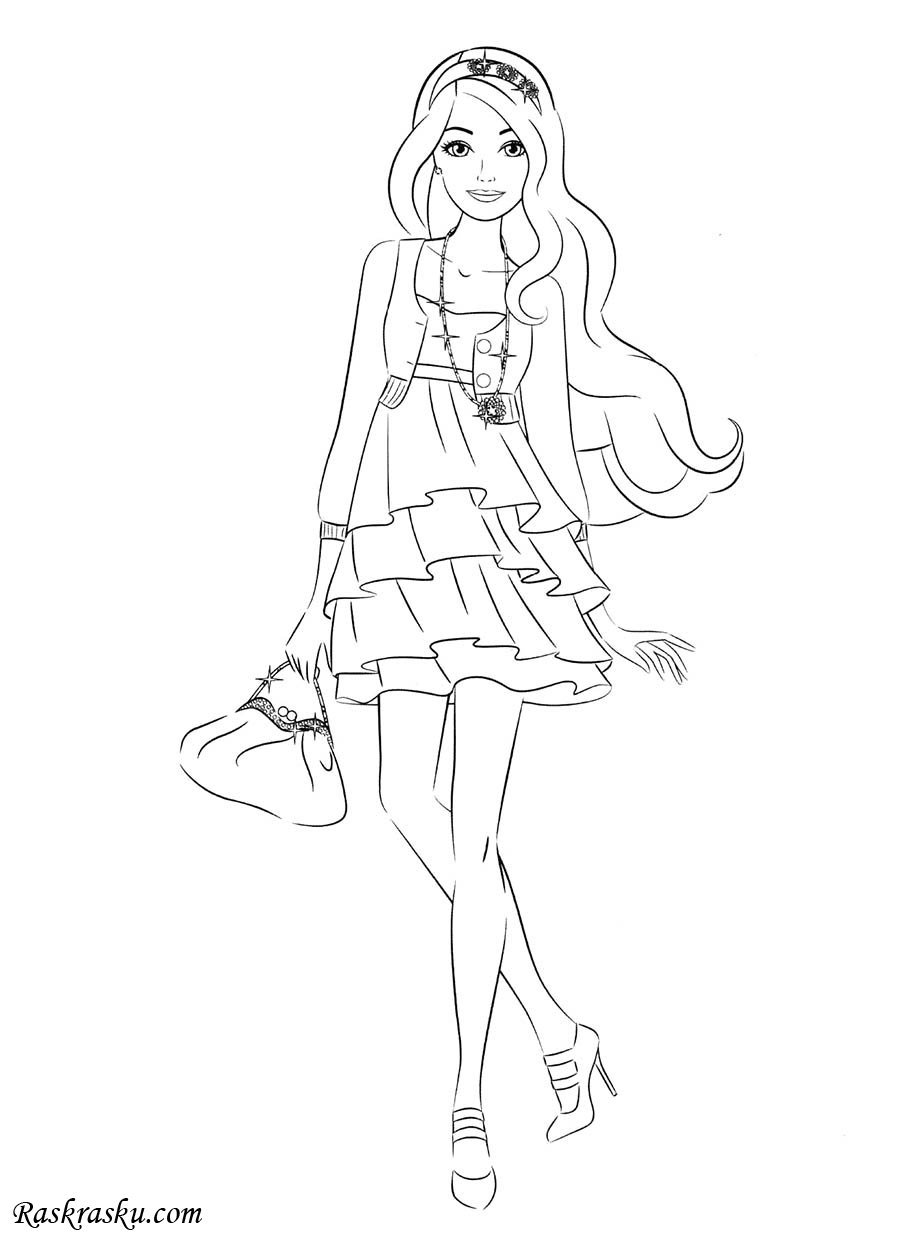 «Раскраска Барби в коротком платье Раскраски барби для ...