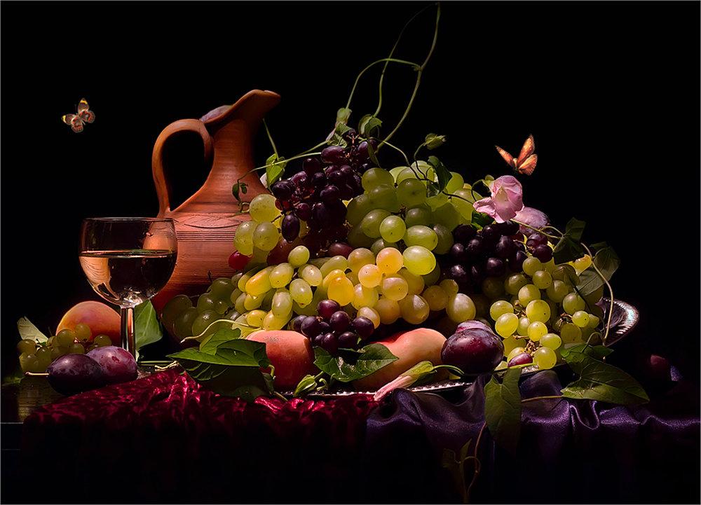 Объемной открытки, открытка с фруктами и вином