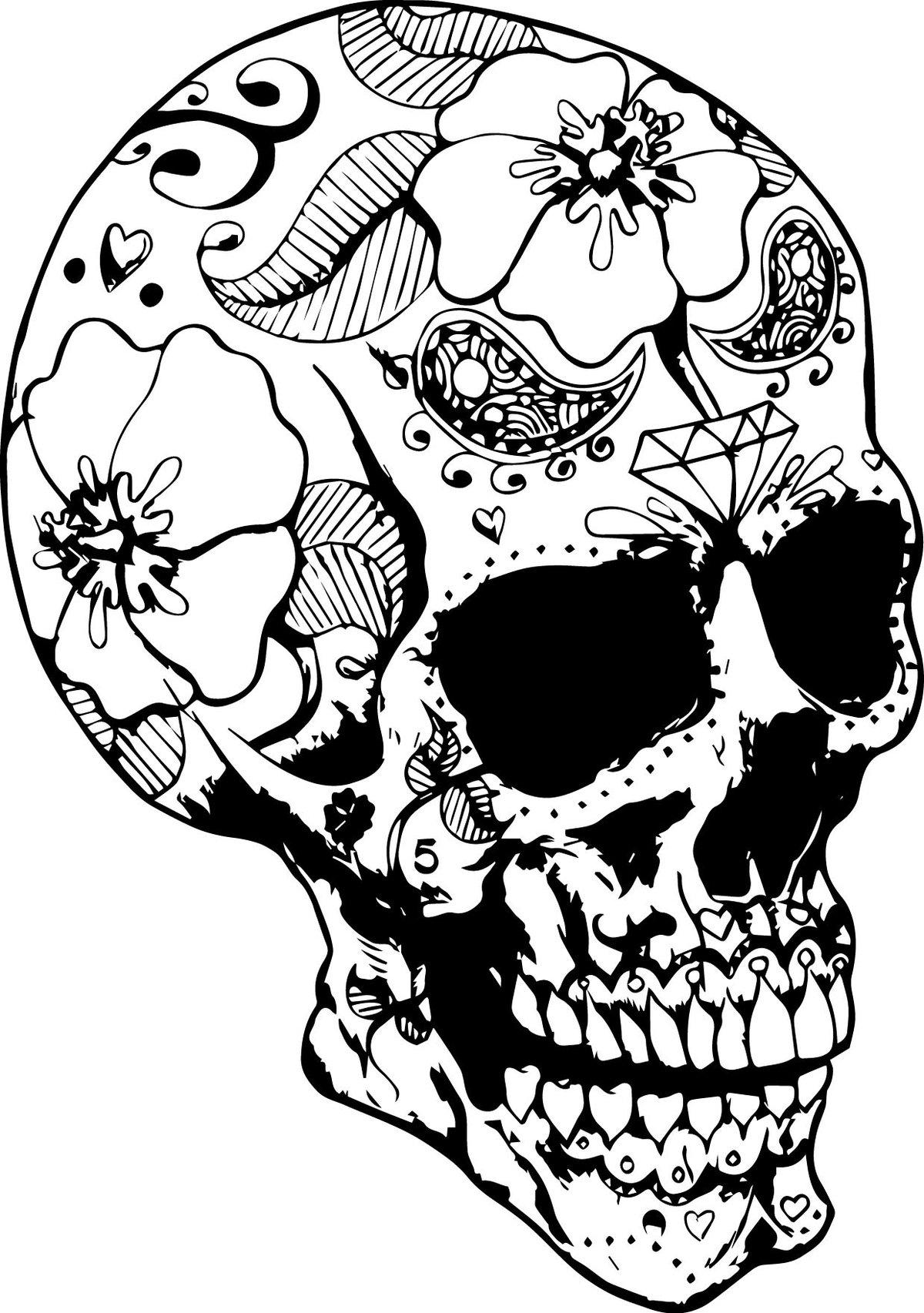Череп черно белый картинки для распечатки