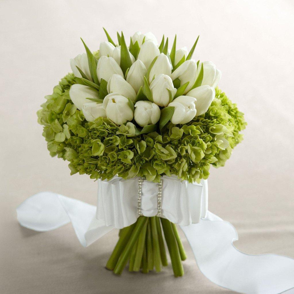 Цветы, свадебные букеты с ландышами и тюльпанами фото