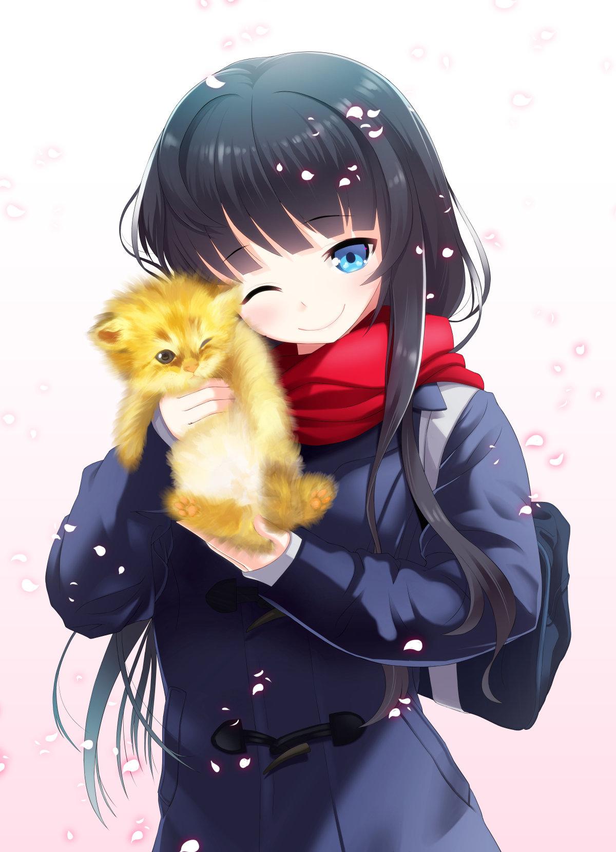 Картинки с аниме котиками и девушками