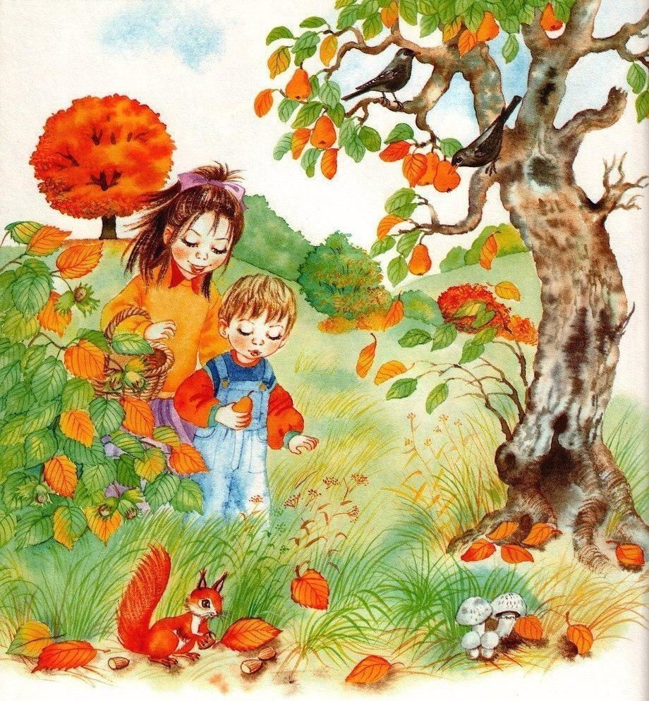Осень в лесу картинки для детей в детском, открыток