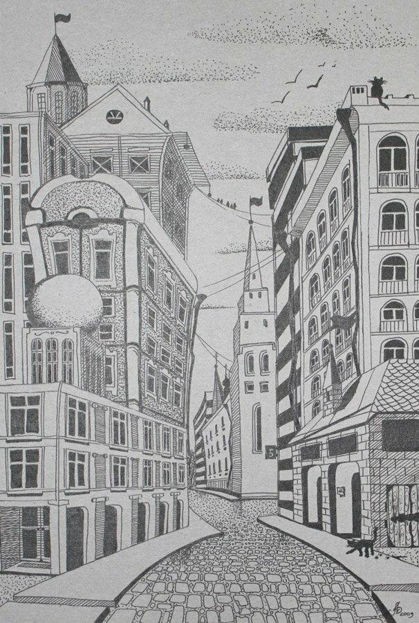 черно белый рисунок пейзаж города три варианта