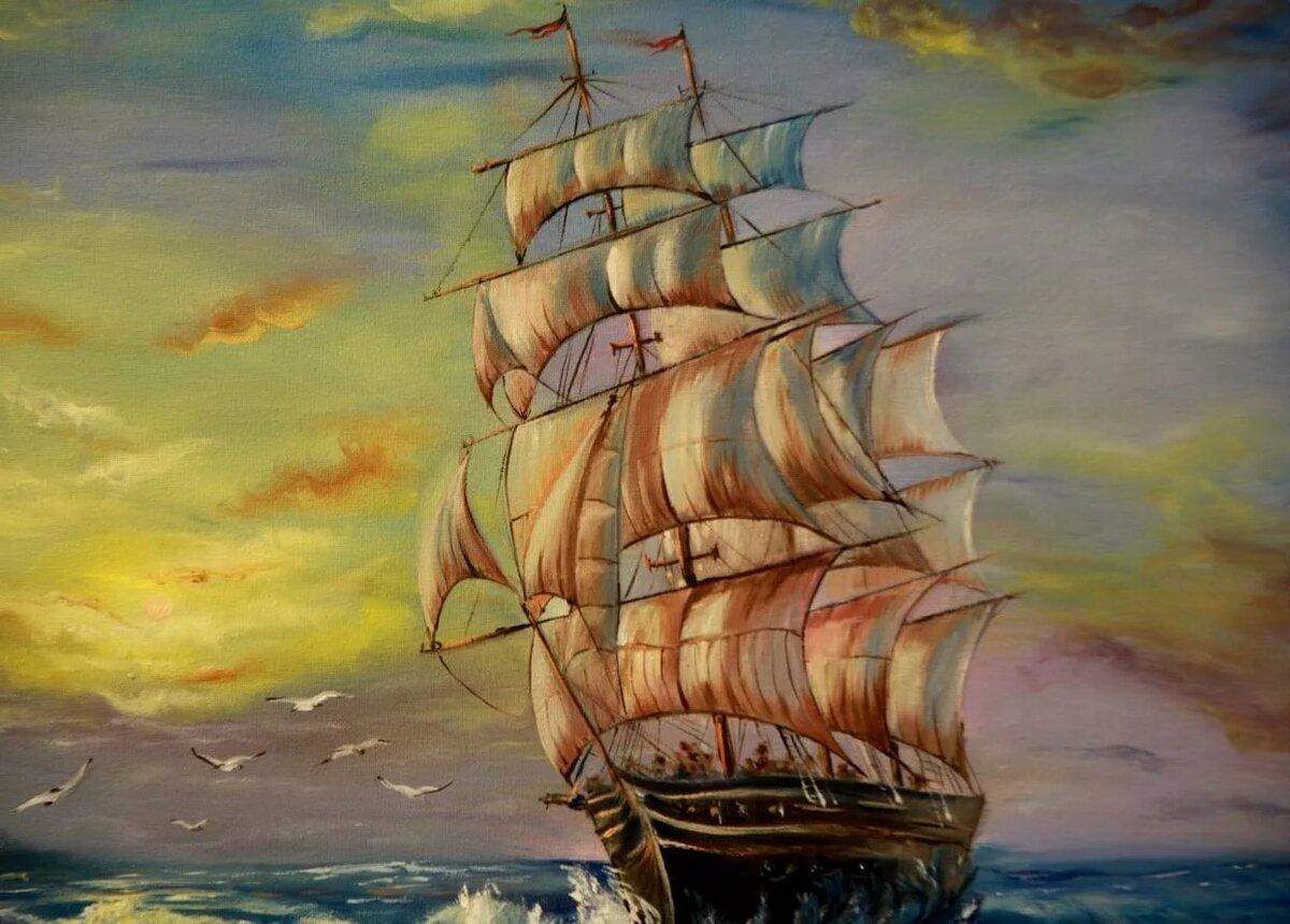 красивые рисунки кораблей красками прикольные