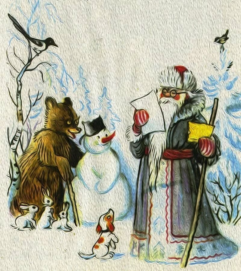 Картинка снеговик почтовик по сказке сутеева