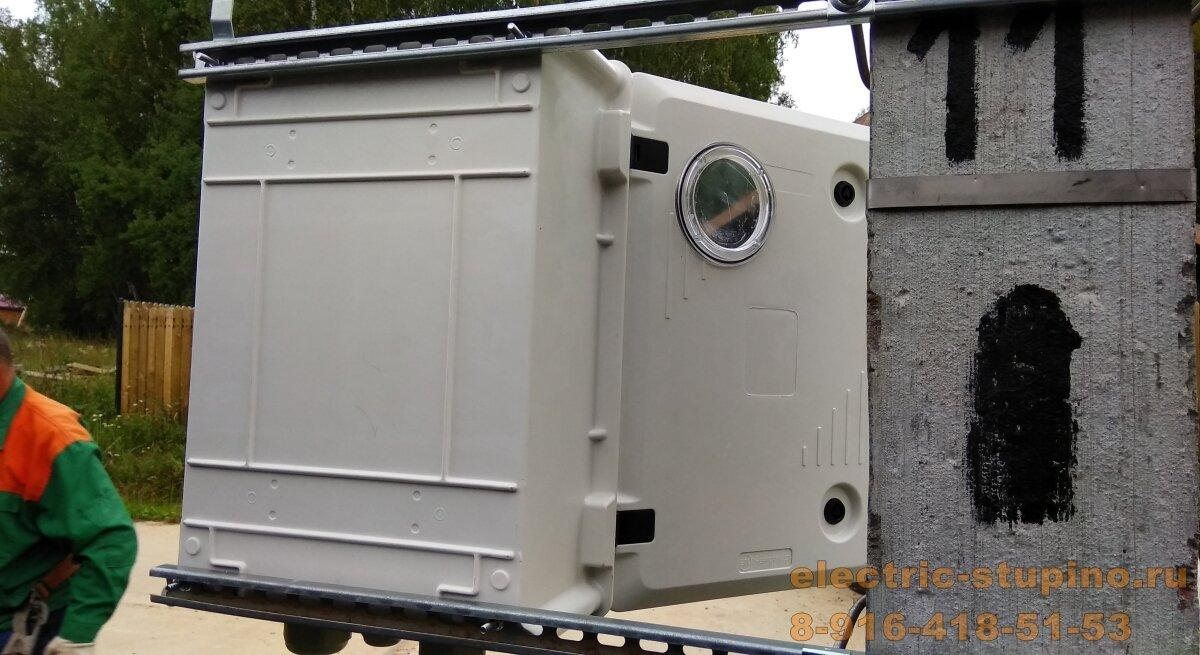 Установка счетчика на столбе - монтаж  электрощита