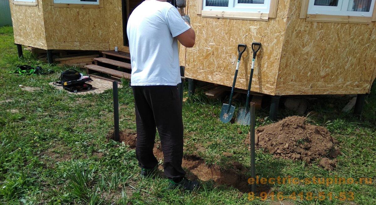 Монтаж электропроводки на даче Контур заземления